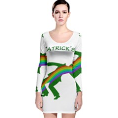 St. Patricks Long Sleeve Velvet Bodycon Dress