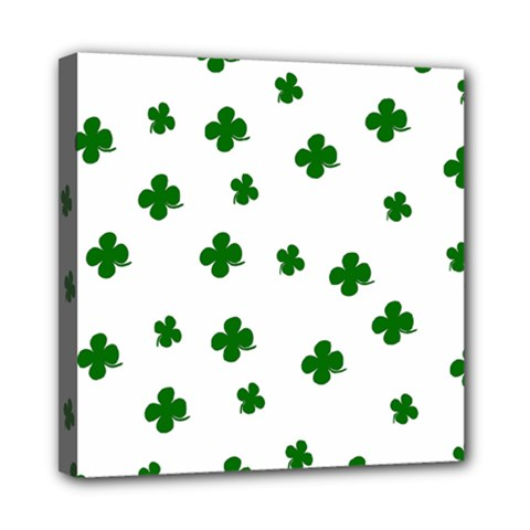 St. Patrick s clover pattern Mini Canvas 8  x 8