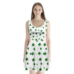 St. Patrick s clover pattern Split Back Mini Dress