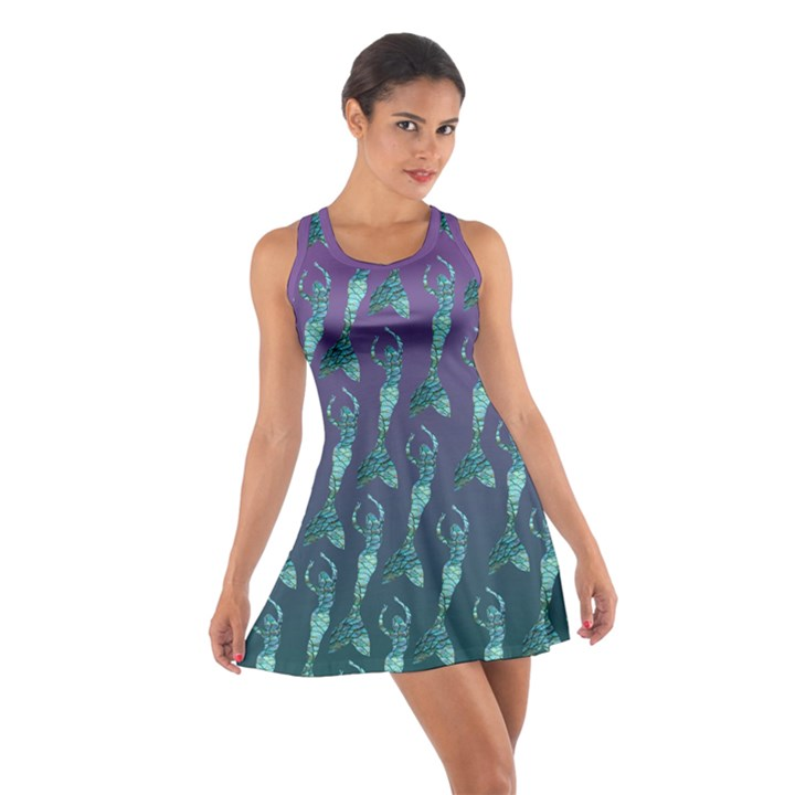 Mermaid Shoal purple and teal Cotton Racerback Dress