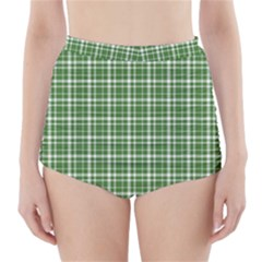 St. Patricks day plaid pattern High-Waisted Bikini Bottoms