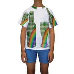 St. Patrick s day Kids  Short Sleeve Swimwear
