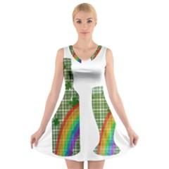 St. Patrick s day V-Neck Sleeveless Skater Dress