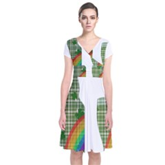 St. Patrick s day Short Sleeve Front Wrap Dress