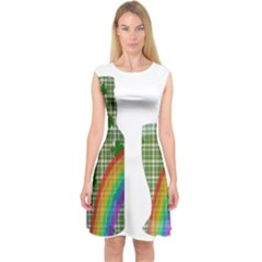 St. Patrick s day Capsleeve Midi Dress