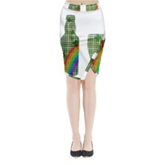St. Patrick s day Midi Wrap Pencil Skirt
