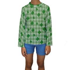 St. Patrick s day pattern Kids  Long Sleeve Swimwear