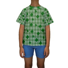 St. Patrick s day pattern Kids  Short Sleeve Swimwear
