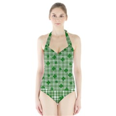 St. Patrick s day pattern Halter Swimsuit