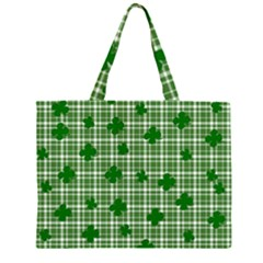 St. Patrick s day pattern Zipper Large Tote Bag