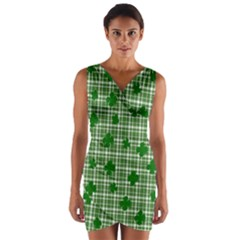 St. Patrick s day pattern Wrap Front Bodycon Dress