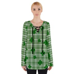 St. Patrick s day pattern Women s Tie Up Tee