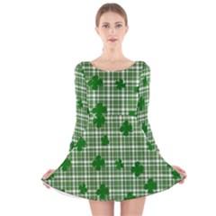 St. Patrick s day pattern Long Sleeve Velvet Skater Dress