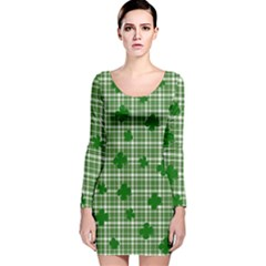St. Patrick s day pattern Long Sleeve Velvet Bodycon Dress
