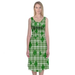 St. Patrick s day pattern Midi Sleeveless Dress