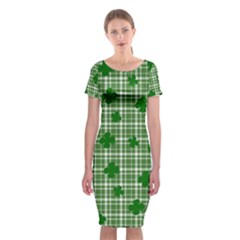 St. Patrick s day pattern Classic Short Sleeve Midi Dress