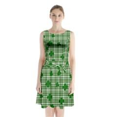 St. Patrick s day pattern Sleeveless Chiffon Waist Tie Dress