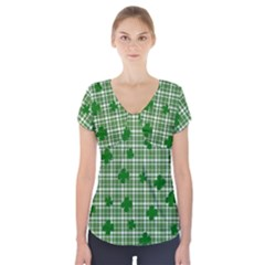 St. Patrick s day pattern Short Sleeve Front Detail Top