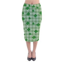 St. Patrick s day pattern Velvet Midi Pencil Skirt