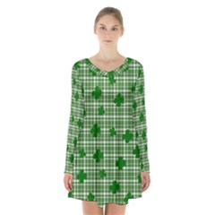 St. Patrick s day pattern Long Sleeve Velvet V-neck Dress