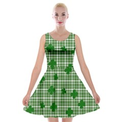 St. Patrick s day pattern Velvet Skater Dress