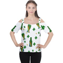 St. Patricks day  Women s Cutout Shoulder Tee