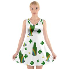 St. Patricks day  V-Neck Sleeveless Skater Dress