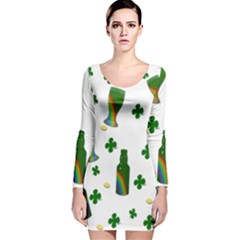 St. Patricks day  Long Sleeve Velvet Bodycon Dress