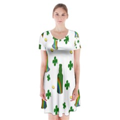 St. Patricks day  Short Sleeve V-neck Flare Dress