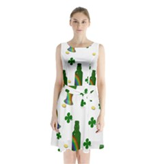 St. Patricks day  Sleeveless Chiffon Waist Tie Dress