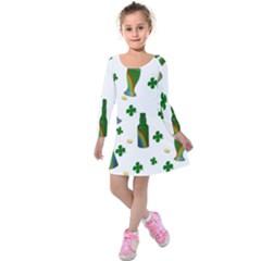 St. Patricks day  Kids  Long Sleeve Velvet Dress