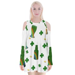 St. Patricks day  Velvet Long Sleeve Shoulder Cutout Dress
