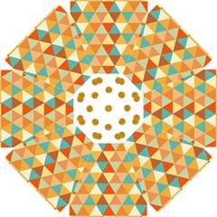 Golden Dots And Triangles Pattern Straight Umbrellas