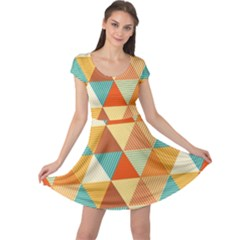 Golden dots and triangles pattern Cap Sleeve Dresses