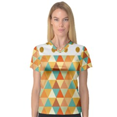 Golden dots and triangles pattern Women s V-Neck Sport Mesh Tee