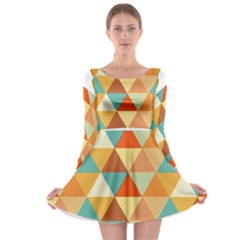 Golden dots and triangles pattern Long Sleeve Skater Dress