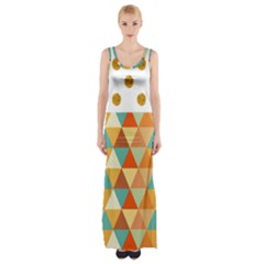Golden dots and triangles pattern Maxi Thigh Split Dress