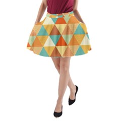 Golden dots and triangles pattern A-Line Pocket Skirt