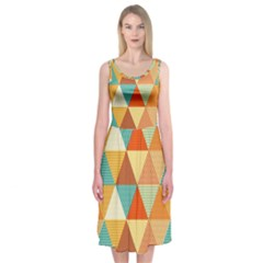 Golden Dots And Triangles Pattern Midi Sleeveless Dress