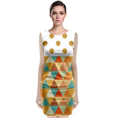 Golden Dots And Triangles Pattern Classic Sleeveless Midi Dress