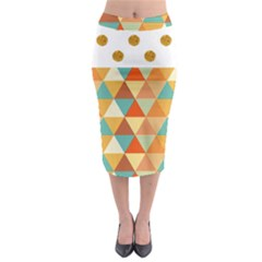 Golden Dots And Triangles Pattern Midi Pencil Skirt