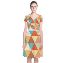 Golden Dots And Triangles Pattern Short Sleeve Front Wrap Dress