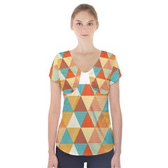 Golden Dots And Triangles Pattern Short Sleeve Front Detail Top