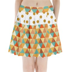 Golden Dots And Triangles Pattern Pleated Mini Skirt
