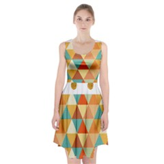Golden Dots And Triangles Pattern Racerback Midi Dress