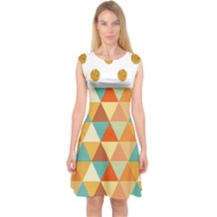 Golden Dots And Triangles Pattern Capsleeve Midi Dress