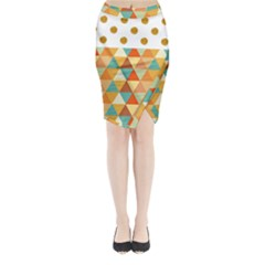 Golden Dots And Triangles Pattern Midi Wrap Pencil Skirt