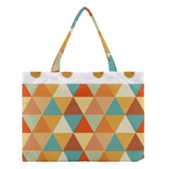 Golden Dots And Triangles Pattern Medium Tote Bag