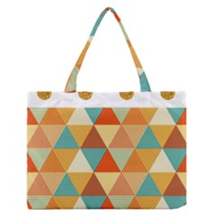 Golden Dots And Triangles Pattern Medium Zipper Tote Bag