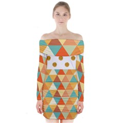 Golden Dots And Triangles Pattern Long Sleeve Off Shoulder Dress